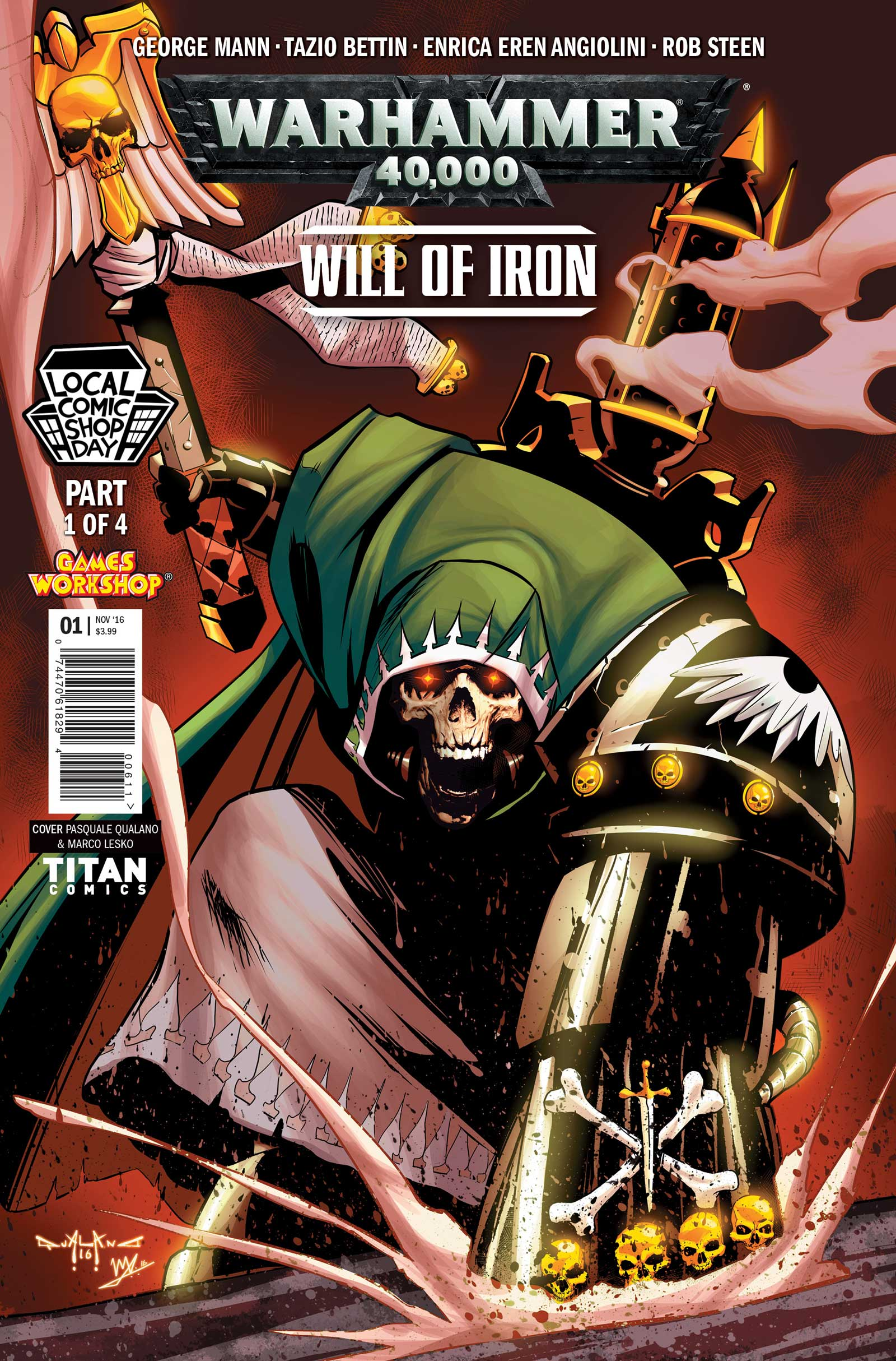 The Local Comic Shop Day variant for​ Warhammer 40,000: Will of Iron​ #1 by Pasquale Qualano and Marco Lesko