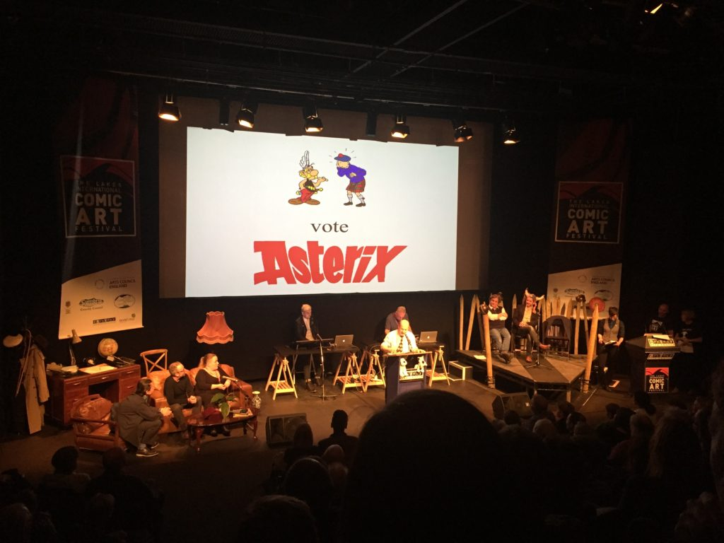 Peter Kessler urges the audience to vote for Asterix.