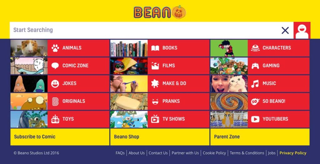 """Drilling down"" into the Beano web site brings you to some links to the comic and subscriptions, although they're still not very prominent."