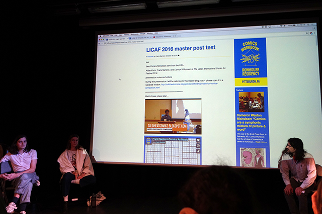 Frank Santoro, Aidan Koch and Connor Willumsen at the 2016 Lakes International Comic Art Festival, talking about the evolution of the Comic Workbook as both a platform and guidance for budding comics artists. Photo courtesy Comic Workbook
