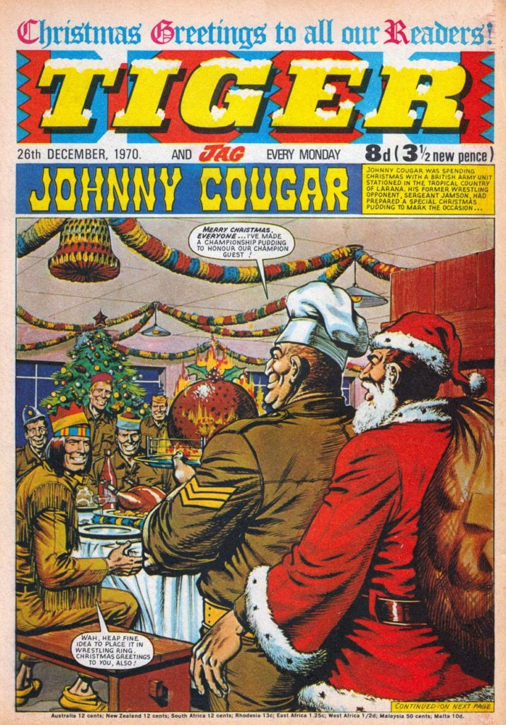 By 1970 Tiger had solidly become an all-sports theme comic, with the Christmas issue featuring Johnny Cougar on the cover taking a break from wrestling. Art by Sandy James. With thanks to Lew Stringer, who highlights the issue here on his brilliant comics blog