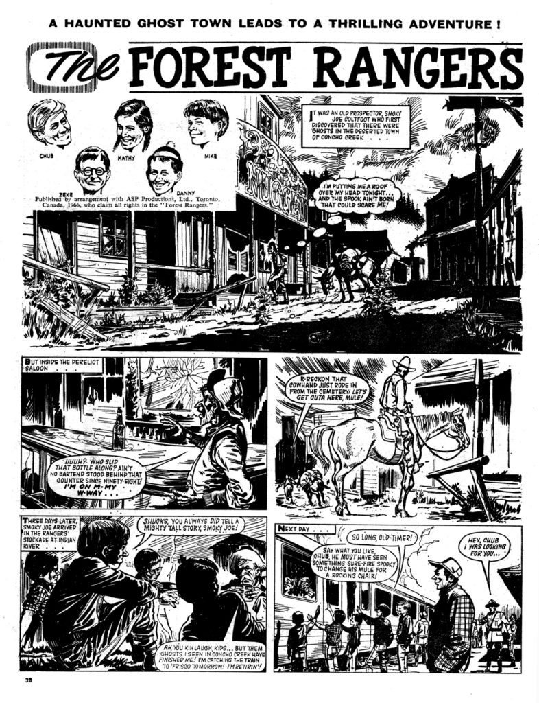 "A page from ""The Forest Rangers"", based on a Canadian adventure show, which was shown on ITV, published in Tiger. This page from the issue cover dated 20th August 1966. Art by John Gillatt"