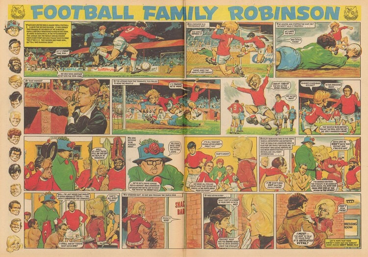 """Football Family Robinson"" from Tiger and Jag, cover dated 29th January 1972. Written by Fred Baker, art by John Gillatt"