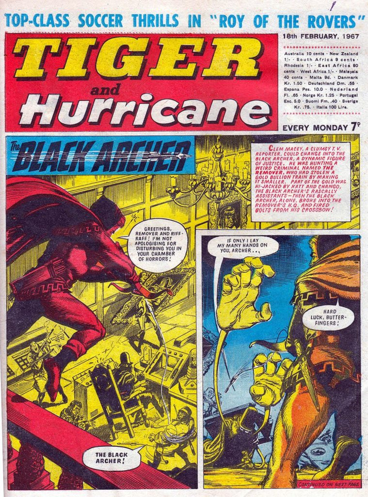 """Black Archer"", drawn by John Gillatt, on the cover of Tiger and Hurricane, cover dated 18th February 1967"