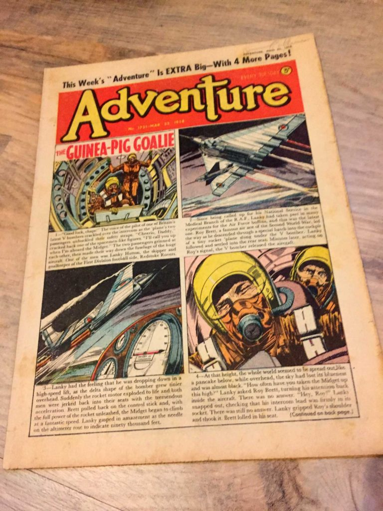 The cover of Adventure Issue 1731 (cover dated 22nd March 1958) featuring the work of 2000AD artist Ron Smith