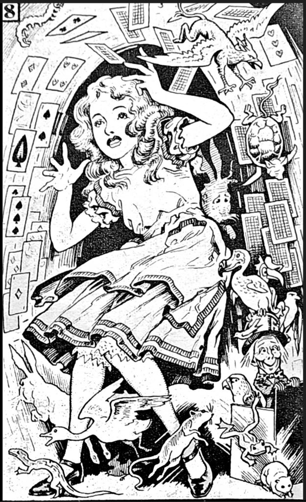 """A panel from the final instalment of """"Alice in Wonderland"""" from Comet #78. A possible Reginald Heade fill-in piece?"""