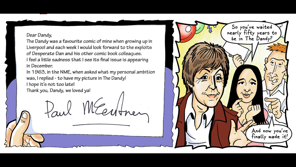 Sir Paul McCartney pays tribute to The Dandy in its last ever print edition