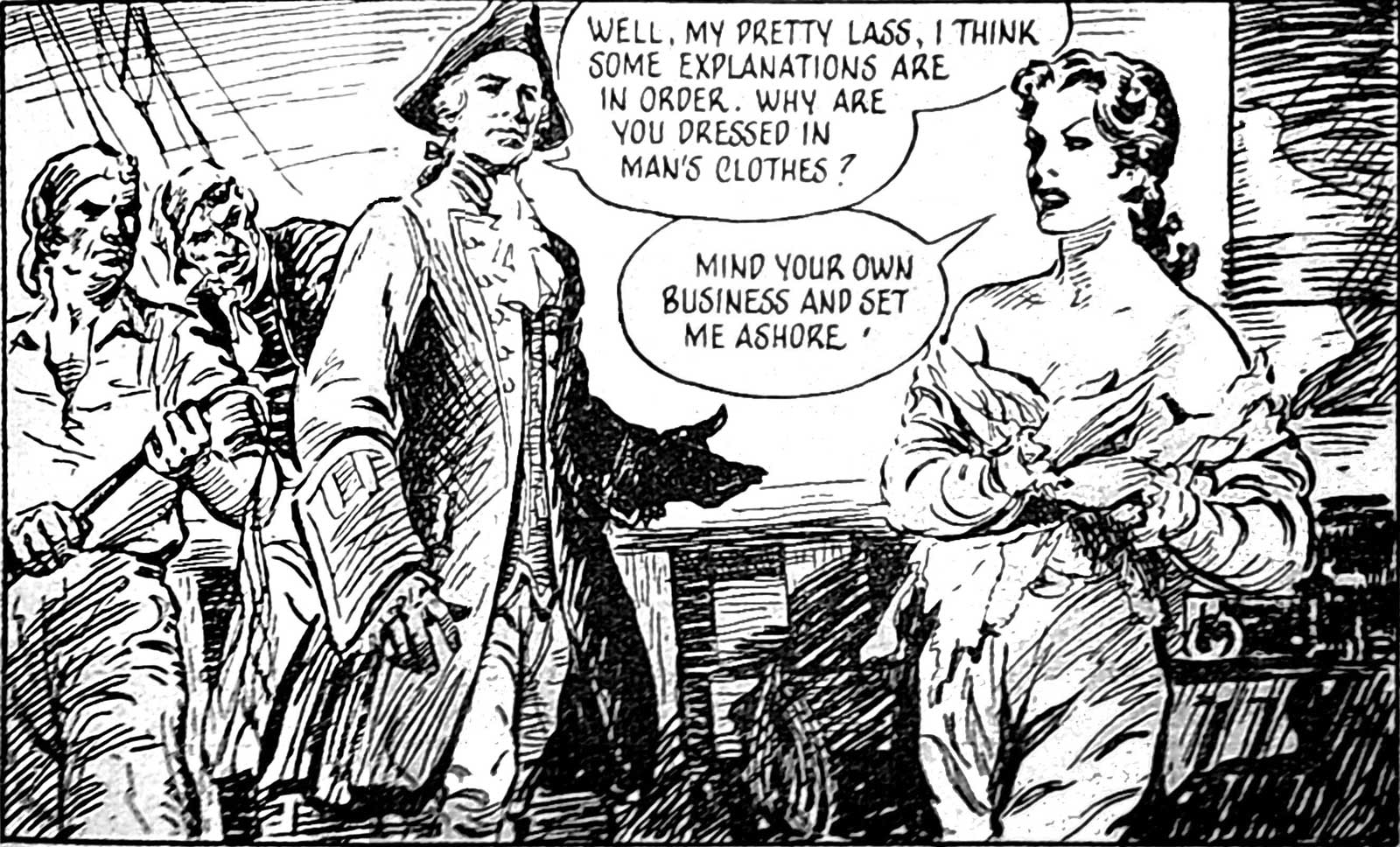 """An example panel from the eighth instalment of """"Mary Read – Soldier and Pirate"""" (Answers, 3 May 1952)."""