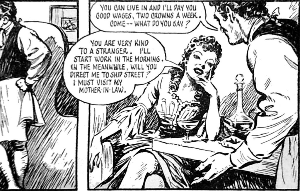 Example panels from the second instalment of Mary Read – Soldier and Pirate (Answers, 22 March 1952).