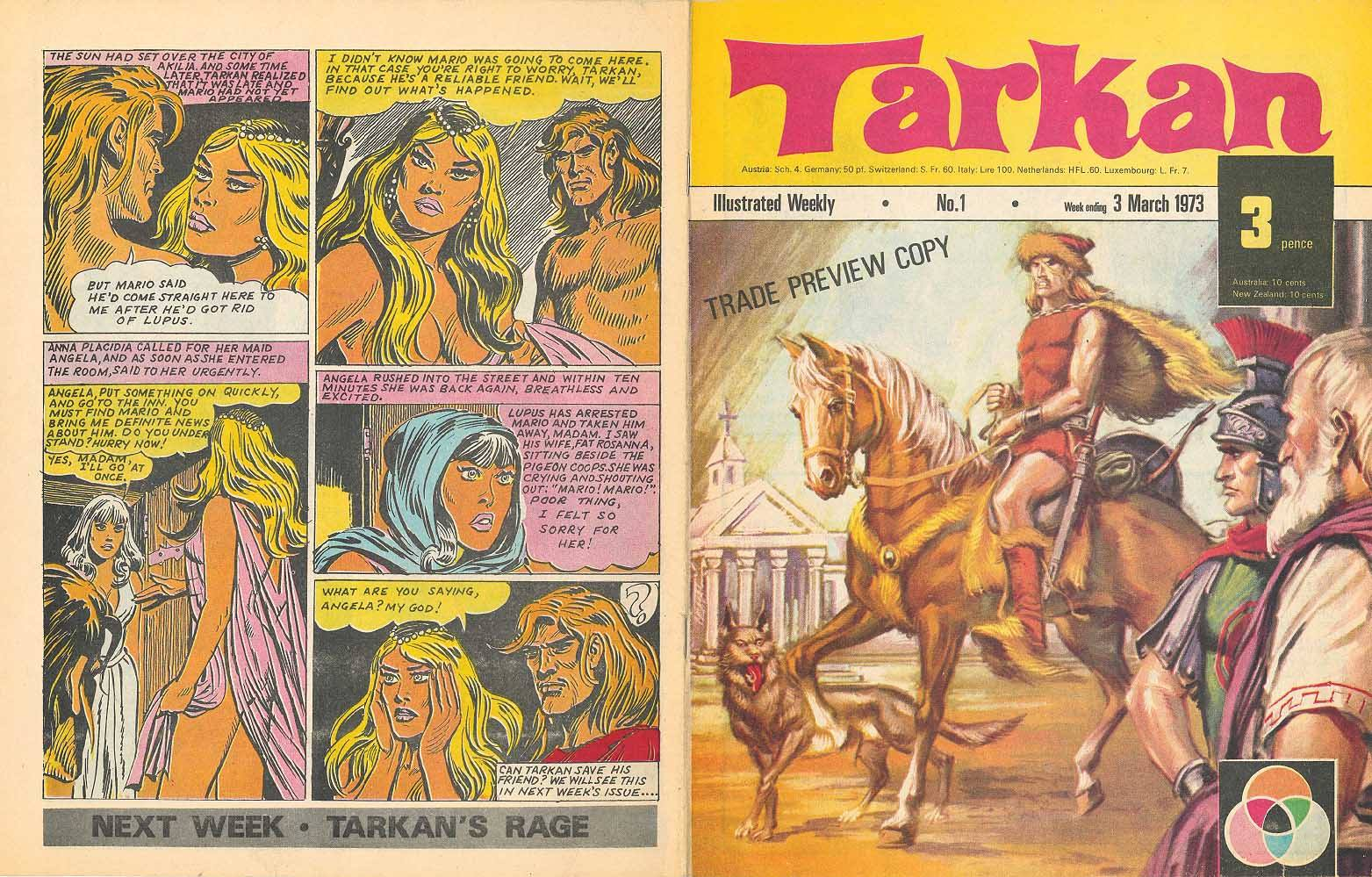 Preview pages of Tarkan #1, published in 1973 - a British reprint of a Turkish hero