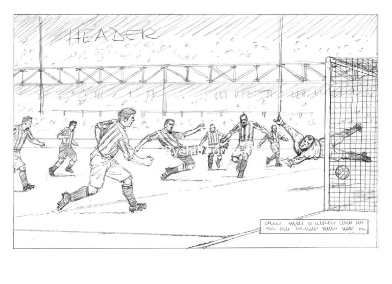 David Sque's pencils for his Sunderland AFC print