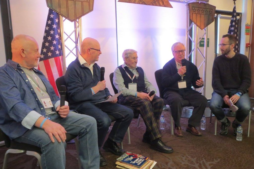 """John Higgins, John Freeman, Ian Kennedy and Jesus Redondo on stage for a """"Blast from the Past"""" panel. Photo: Wakefield Carter"""