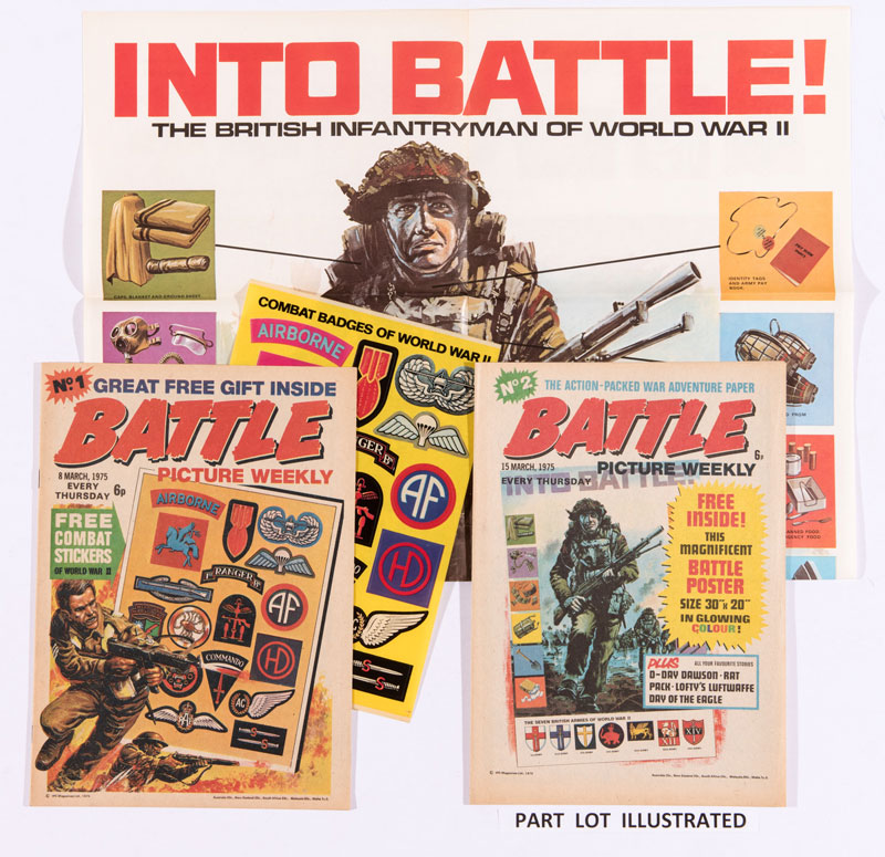 Early issues of Battle from 1975, complete with a large Battle Poster given away with Issue 2