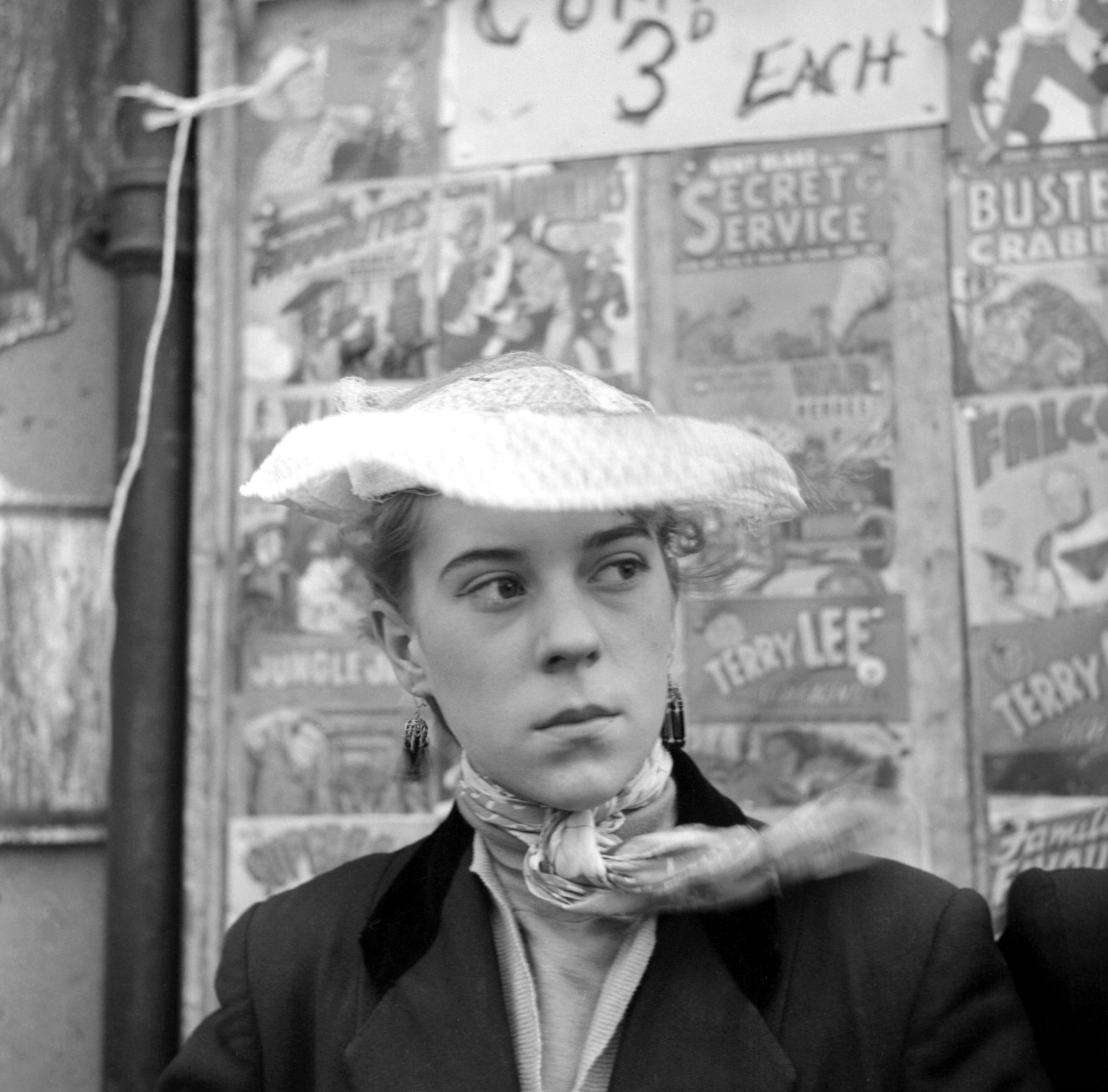 A photo of Teddy Girl Iris Thornton taken in Canning Town in 1955 by Ken Russell, released to publicise an exhibition of the late film director's work at Oxford's North Wall Art Centre in February 2017. Image © Ken Russell/Topfoto.co.uk