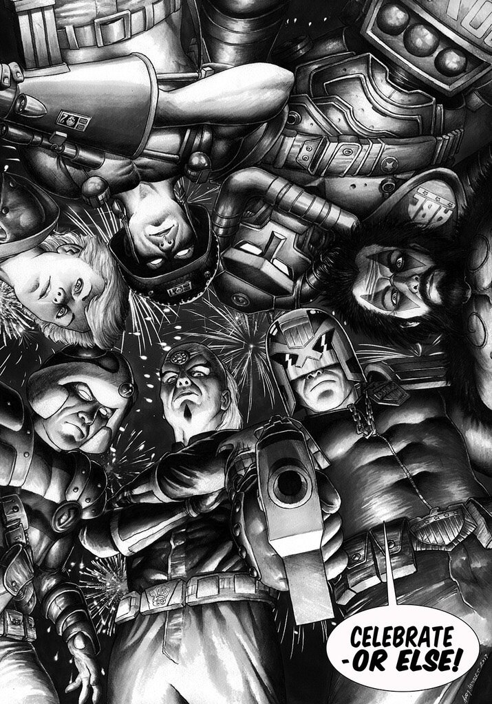 """2000AD art competition entry: """"Celebrate - or else!"""" By Andy Lambert"""