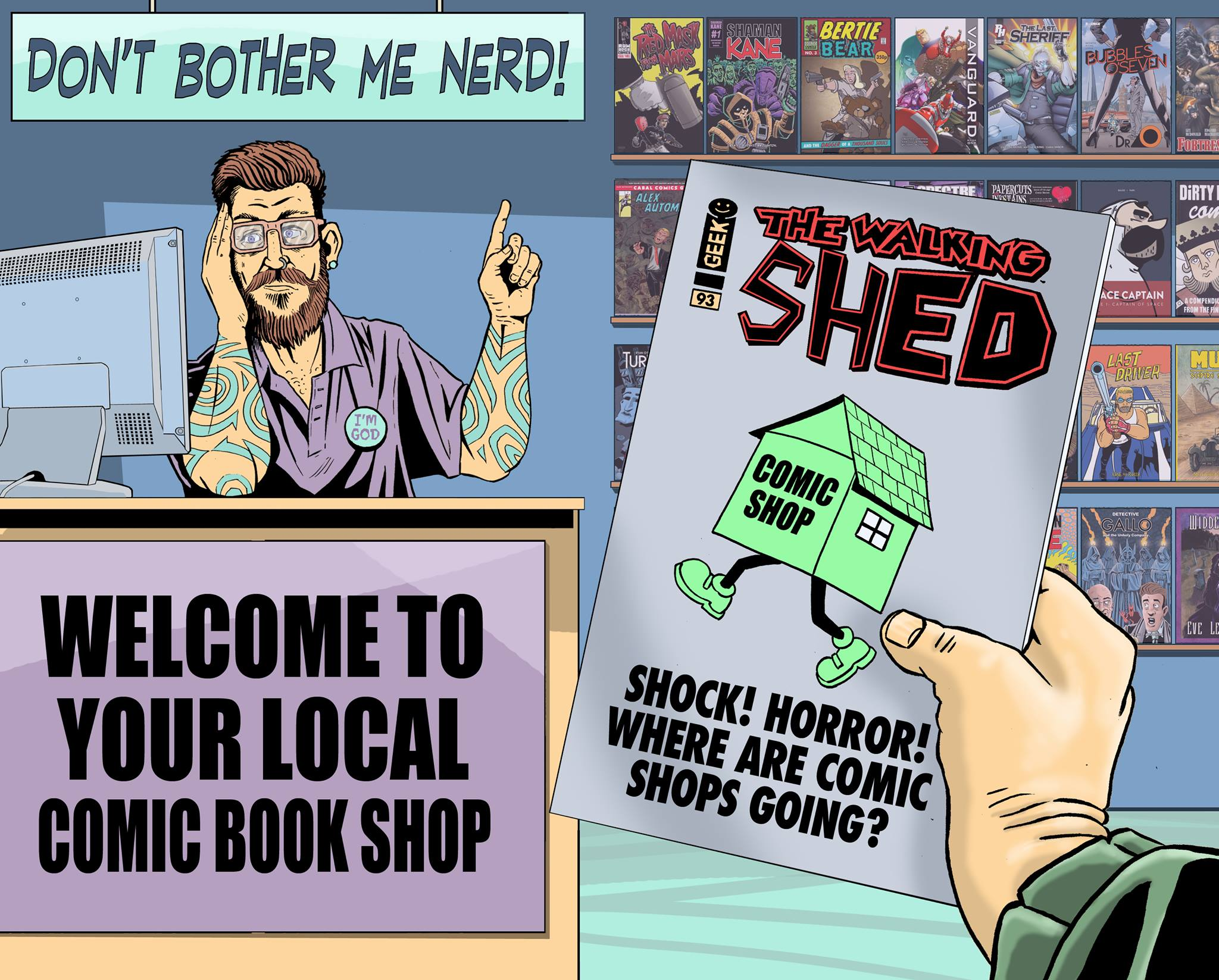 Tony Esmond's Comic Shop Survival Guide - Part One. Art by David Broughton