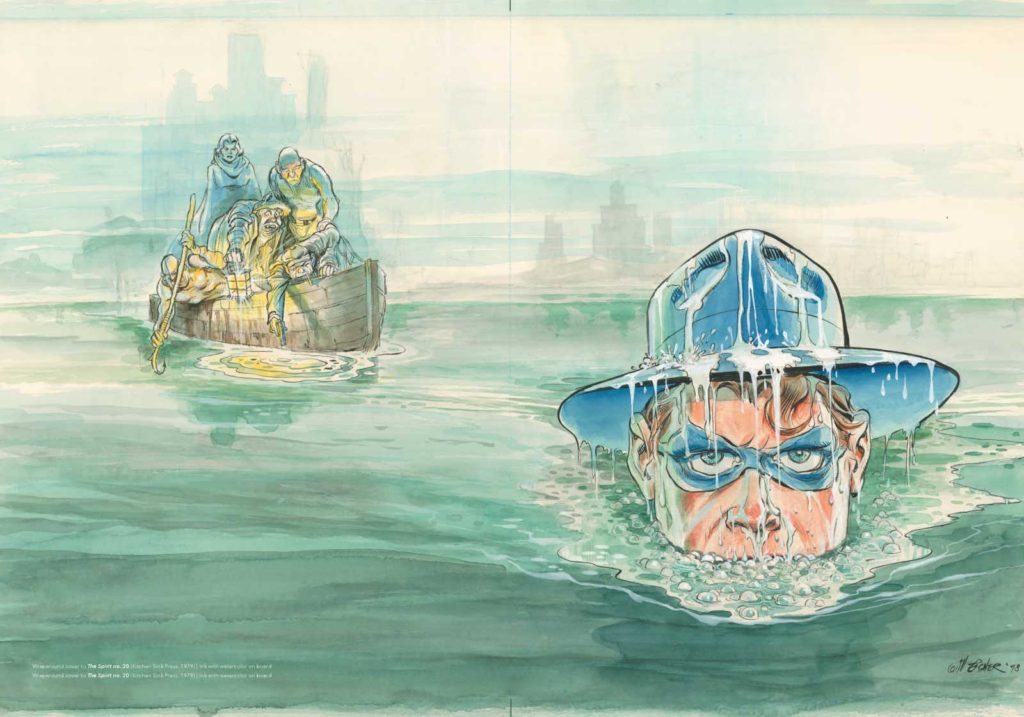 Wraparound watercolour cover to The Spirit Issue 20, published by Kitchen Sink Press in 1979