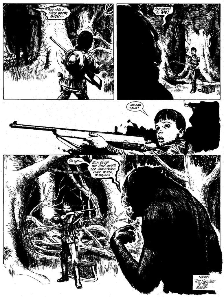 """Art from """"Summer Magic"""" in 2000AD Prog 576, published in May 1988, written by Alan McKenzie, drawn by John Ridgway."""
