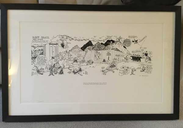 "This specially-made print of ""Baby Basil Does His Bit"" by Leo Baxendale is to go on permanent display in the Brewery Arts Centre later this year"