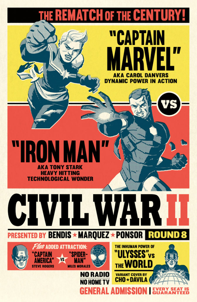 """Michael's favourite """"Civil War II"""" cover. """"As I wanted to go out with a bang and go all out on the boxing angle,"""" he says."""