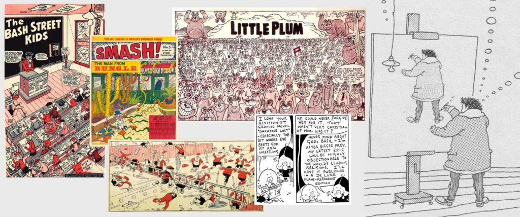 A montage of Leo Baxendale's work, including part of his self portrait