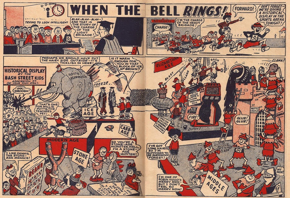 """""""When the Bell Rings"""" - the early incarnation of """"The Bash Street Kids"""", a strip that has appeared in every issue of The Beano since 1956"""