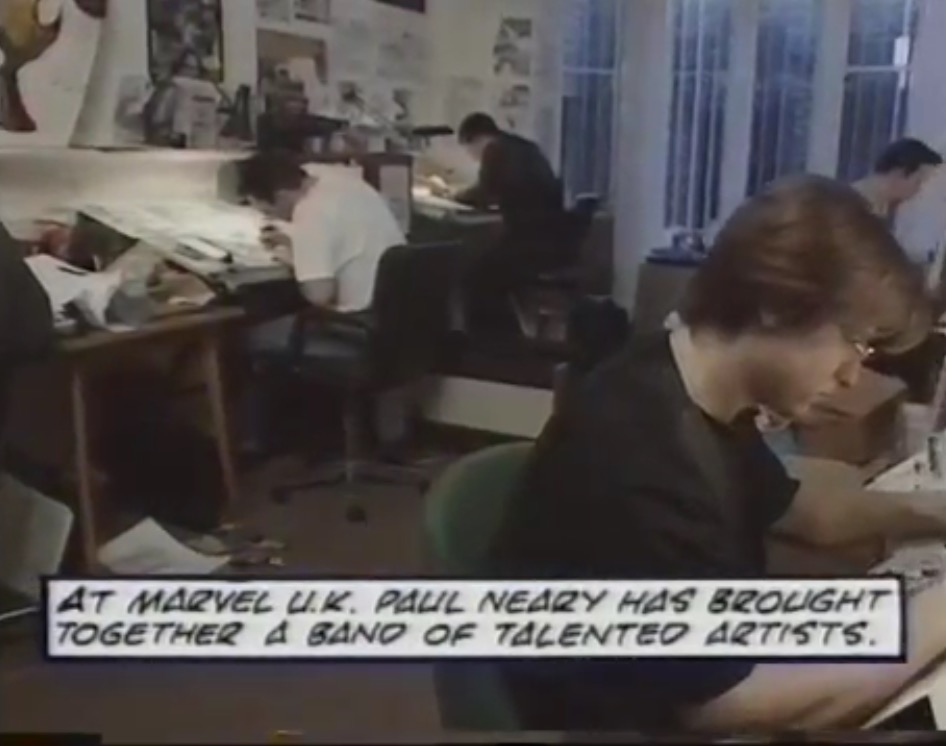 The Marvel UK Bullpen, mid-1993. Pictured here are Andrw Currie, Andy Lanning, Bryan Hitch, Martin Griffiths and Liam Sharp. Colourist and artist Steve Whitaker was also a regular in the basement, as was Edmund Perryman, among others