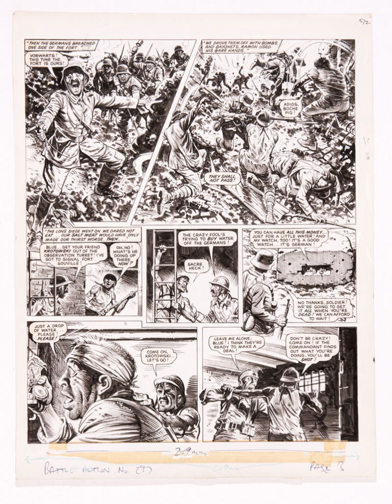Charley's War original artwork by Joe Colquhoun for Battle-Action No 297 Page 3 (1980). Written by Pat Mills The French legionnaires fight a ferocious battle during the German Siege of Fort Vaux in Verdun. Krotowski hides himself in the observation turret above the tunnel, desperately trying to buy water from a German soldier outside but Blue forces his comrade away knowing he'll be shot if the commandant finds out 18 x 15 ins. Black ink on cartridge paper £250-300