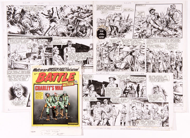 """Charley's War original artwork by Joe Colquhoun from Battle-Action 321 (June 27 1981). Written by Pat Mills It's April 1917. During the battle of Ypres Charley witnesses Captain Snell killing a wounded German soldier in no-man's land during an unofficial truce. The Germans respond with withering fire power whilst Snell metes out 'justice' to his own command 2½ page complete episode artworks (18 x 15"""" x 2, 9 x 15"""" x 1) With original Battle-Action front page colour layout and acetate overlay"""