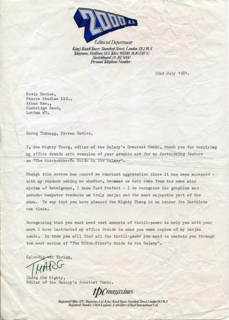 """Former 2000AD editor Steve MacManus suggests this letter was written by Richard Burton as it's his """"Tharg"""" signature on it"""
