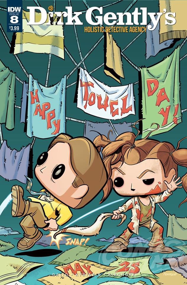 The latest issue of IDW's Dirk Gentle's Holistic Detective Agency (#8) homages Towel Day
