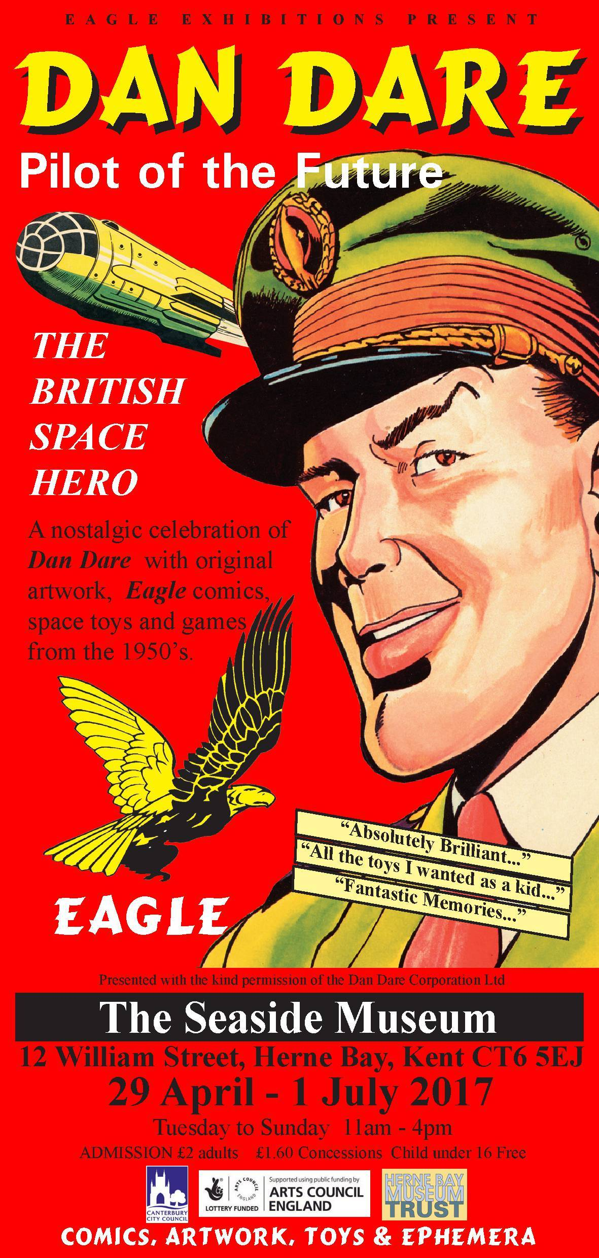 Dan Dare Exhibition Poster - The Seaside Museum 2017