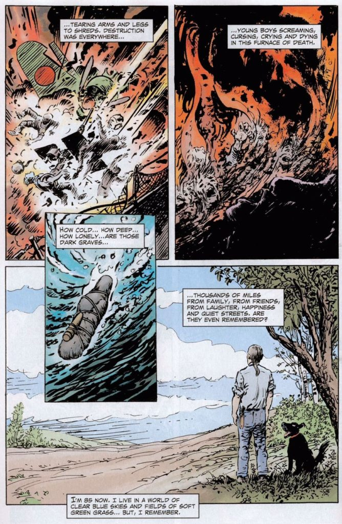 A poignant page of art paying tribute to those who fell in war, by Sam Glanzman, drawn just a few years ago