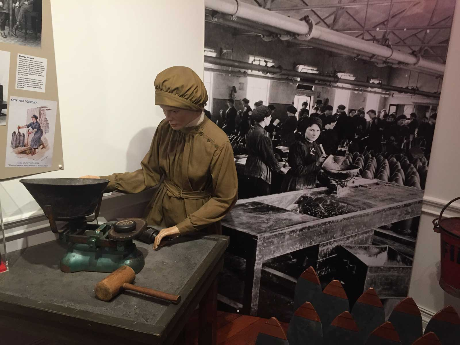 """The museum's Boom Town exhibition includes this recreation of a """"work station"""" for one of the hundreds of female workers handling TNT"""