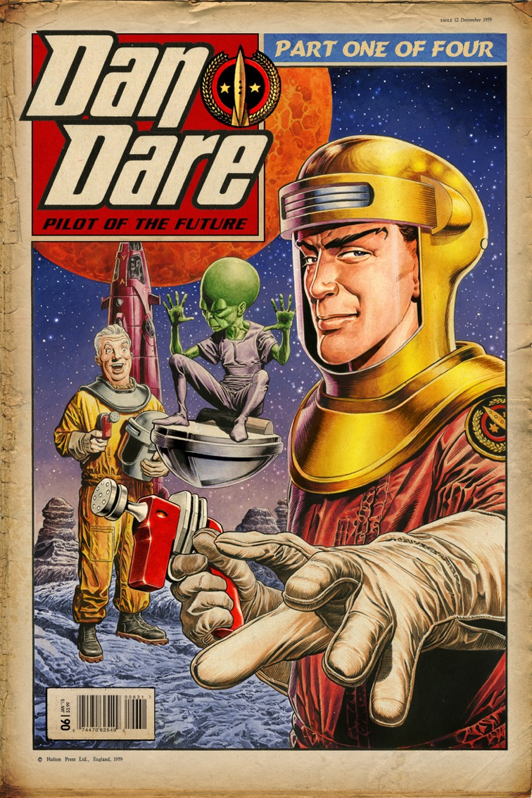 Dan Dare #1 Cover C by Chris Weston. (Note this is a rough mock up featuring the retro logo, not final cover)