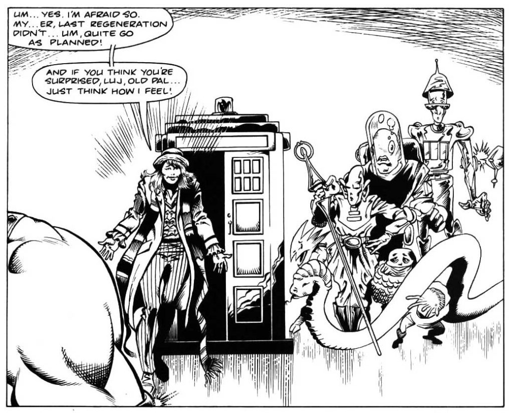 The first female 'Doctor' makes her debut in A panel from Incredible Hulk Presents #8, back in 1989