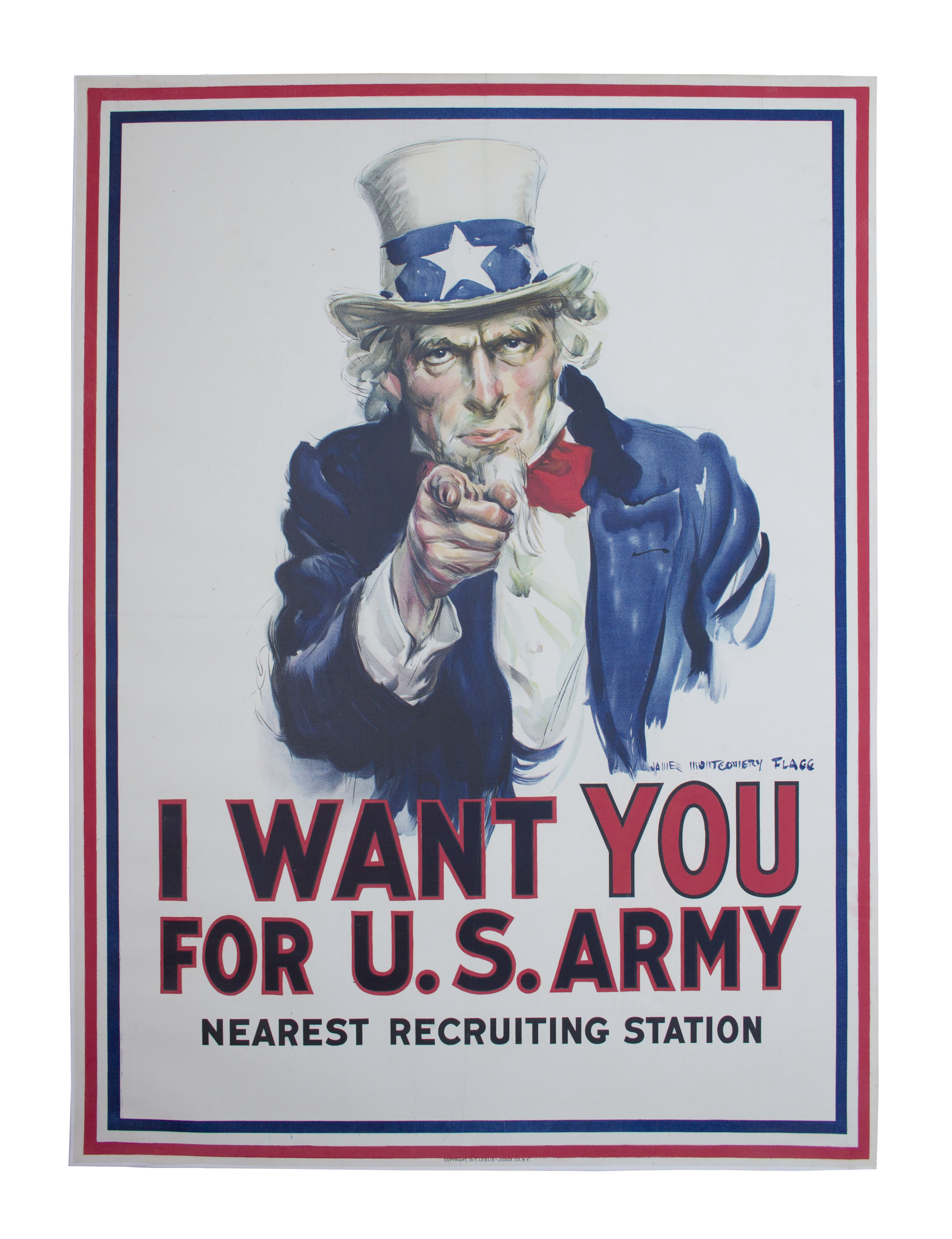''I Want You'' original Army recruitment poster from 1917 by James Montgomery Flagg
