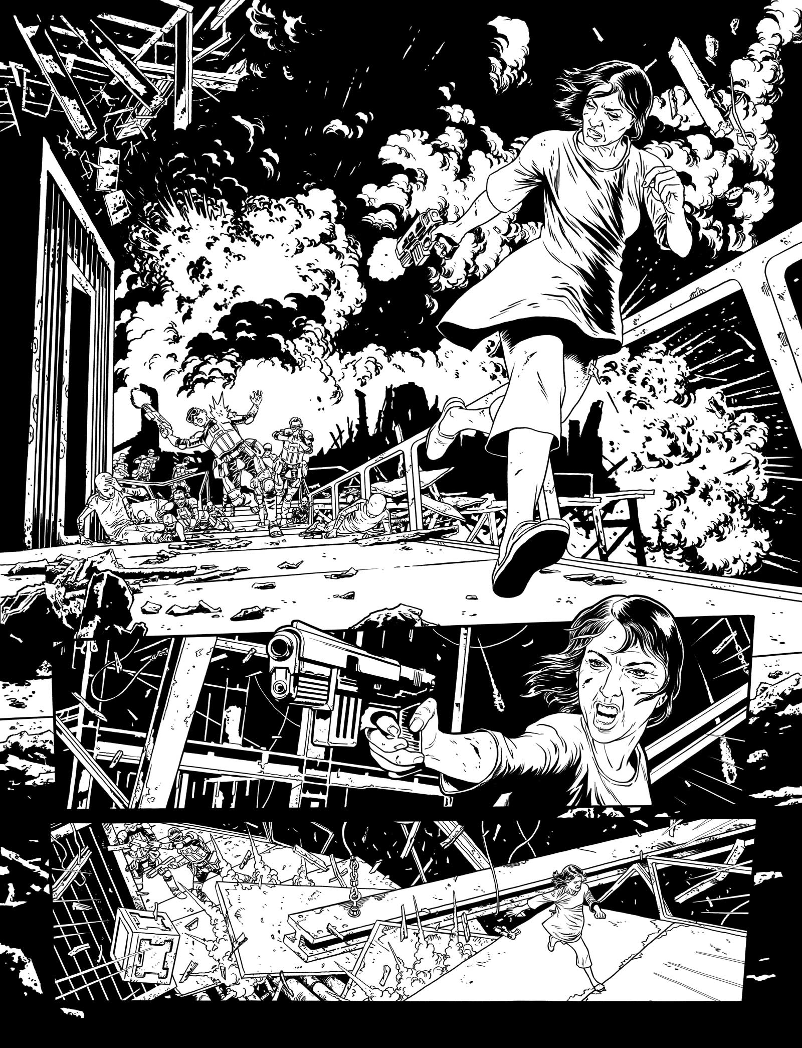 "Art from ""Judge Dredd: Ghosts"", written by Michael Carroll, art by Mark Sexton. The strip ran in 2000AD 2000AD Progs 1963 - 1968"