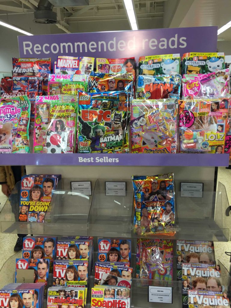 This Sainsbury's promotion for comics is just the latest of many, but since all the comics have been racked at adult eye level, it's easy to see who it's been aimed at and who might buy them. Comics have become a parent buy.