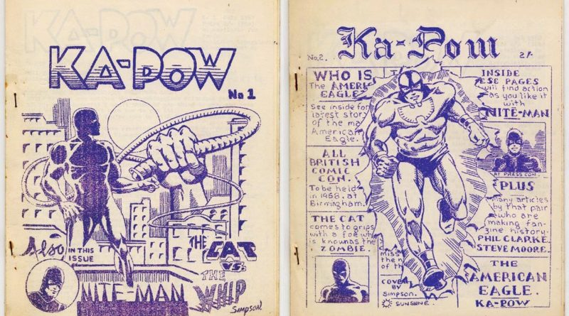 Early issues of the British comics zine KA-POW. Via Dez Skinn