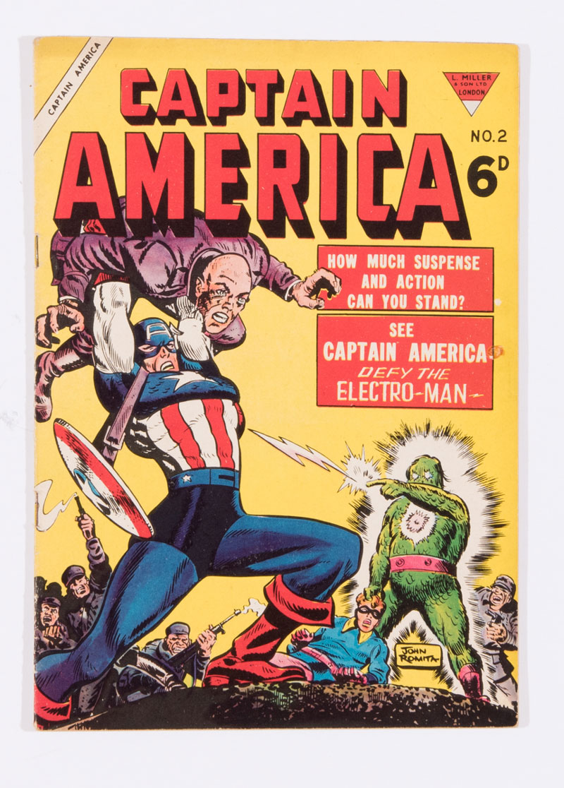 Captain America 2 (1954) L. Miller. This British comic reproduces John Romita Sr. cover and stories from US Captain America #78 (the last US Golden Age issue)