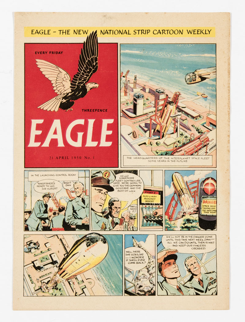 """Eagle Promotional 8 page full colour issue, distributed to churches and schools up and down the country in 1950 to publicise the imminent print run of the Eagle's first issue. The front cover has no """"Dan Dare Pilot of the Future"""" header and a different date of 21 April 1950"""