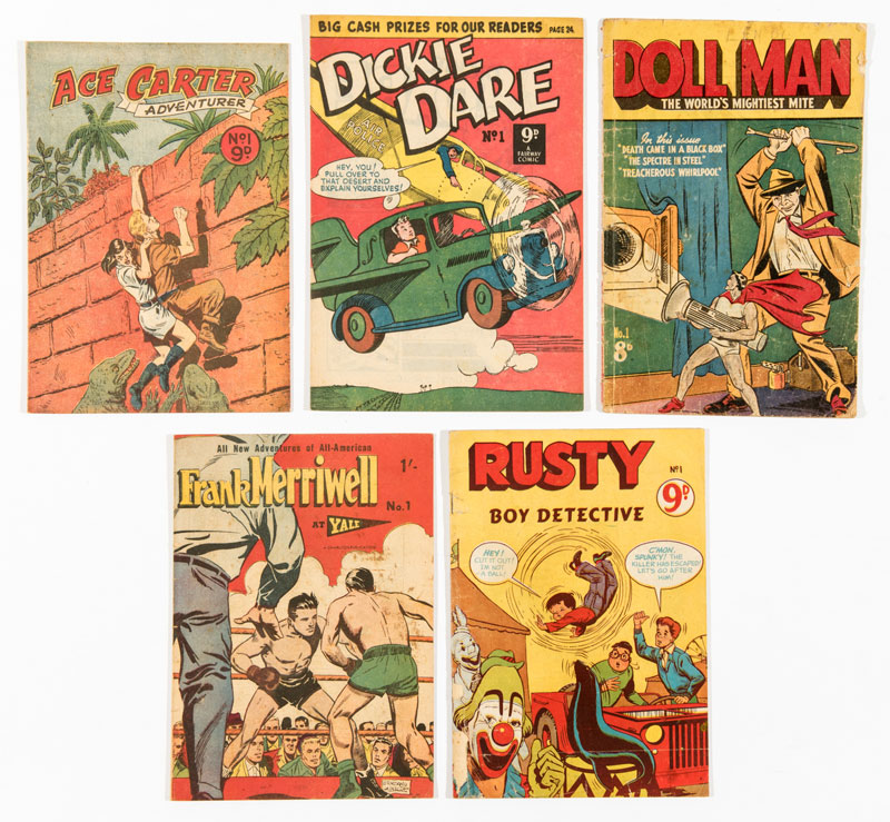Scarce Australian reprint No 1s (1950s) including Ace Carter, Dickie Dare, Doll Man, Frank Merriwell, and Rusty Boy Detective,