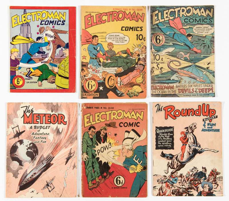 UK Superheroes comics from the late 1940s-50s -  Electroman 1-4 (published by Scion). With Meteor and Round Up one-shots (Mallard)