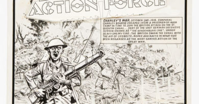 "Charley's War original front cover artwork (1984) by Joe Colquhoun for Battle 484, cover dated 11th August 1984. Dated ""October 2nd 1918"", Corporal Charley Bourne has escaped from a POW camp to join the British attack on the St Quentin canal. Under heavy enemy fire the British swam the canal with the aid of lifebelts, ropes and rafts in what has been regarded as the most daring action of the Great War."
