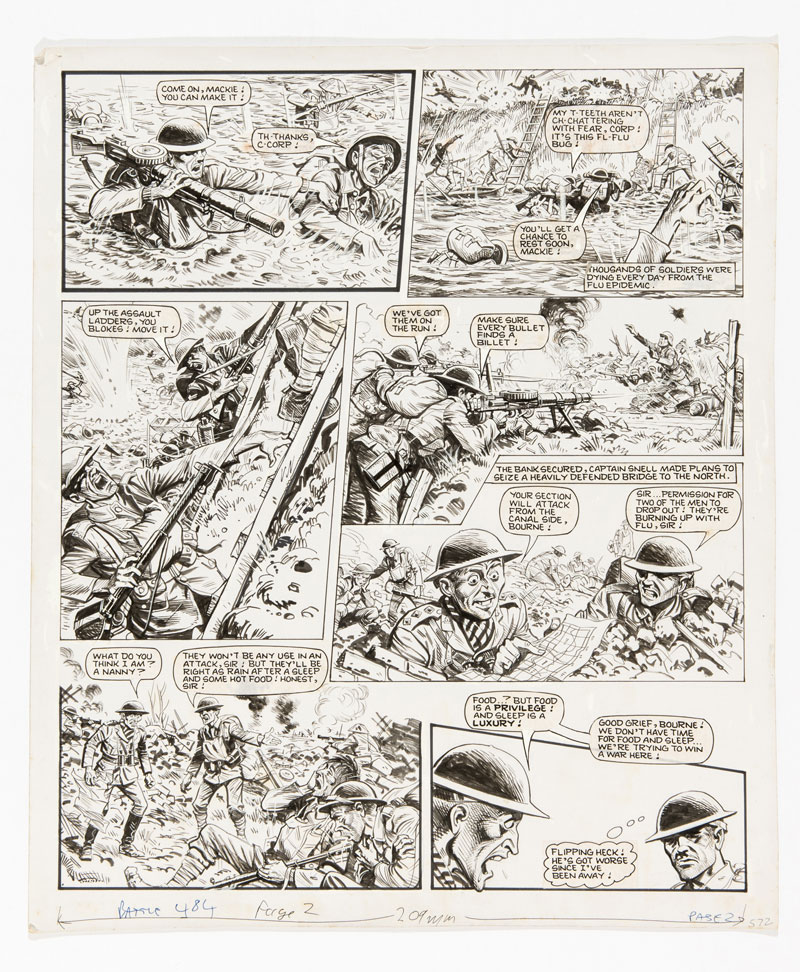 """Charley's War original artwork (1984) by Joe Colquhoun for Battle 484 page 2, cover dated 11th August 1984. Under enemy fire, Charley sets up a machine gun post on the enemy bank but after heavy losses Captain Snell tries to drive them on … This art is signed to the reverse: """"Best wishes from Joe Colquhoun"""""""