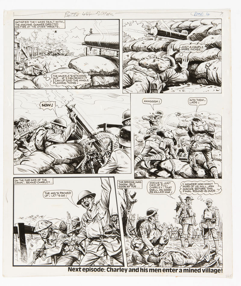 """Charley's War original artwork (1984) by Joe Colquhoun for Battle 484. Charley stalks and captures a German machine gun post and his men take the bridge in the fourth page of this """"Charley's War"""" episode - but some are dying from influenza."""