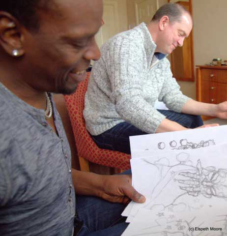 Kermit Leveridge and Mal Earl at work on Lies and Other Fools