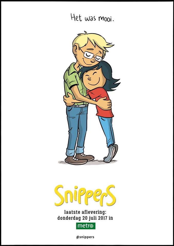"""Promotional art for the final episode of """"Snippers"""" (so called because it involved little pieces from the daily life of the characters), which Aimée brought to a natural close earlier this year, after writing and drawing it for over five years, six strips per week."""