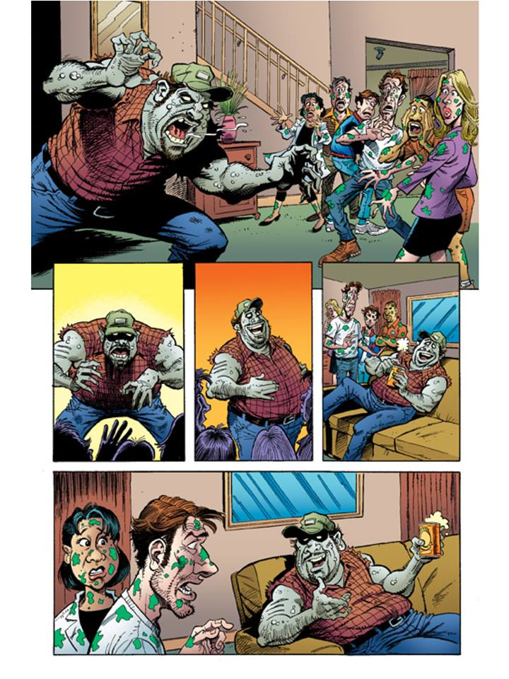 Meet Brody Langenbach - 50% man, 50% zombie - 100% redneck! He's a zombie after your heart (as well as your brain). This page is from Z-People Binge Book #1 by Darin Henry, Richmond, Whitmore and Marshal Dillon
